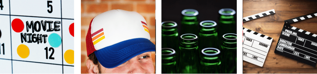 Hat on TV movie drinking game materials